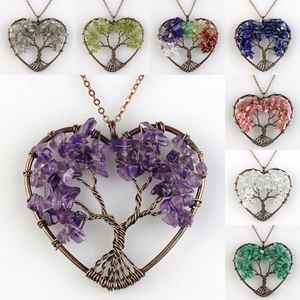 Jewelry - 'Living Tree' Natural Gemstone Heart Necklace